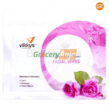 Vikkys Wet Facial Wipes Rose (Pack of 10)
