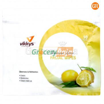 Vikkys Wet Facial Wipes Lemon (Pack of 10)