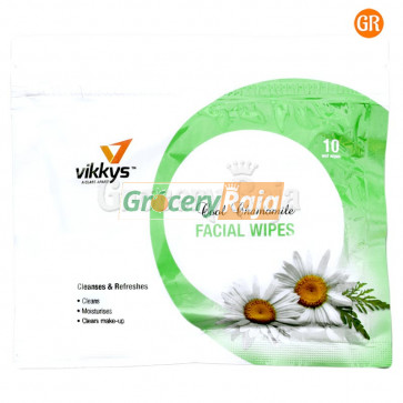 Vikkys Wet Facial Wipes Chamomile (Pack of 10)