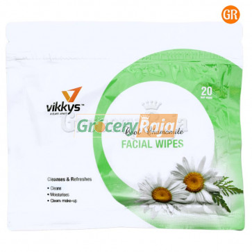 Vikkys Wet Facial Wipes Chamomile (Pack of 20)