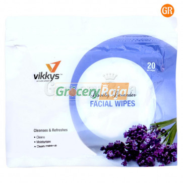 Vikkys Wet Facial Wipes Lavender (Pack of 20)