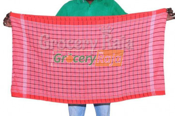"Red Kuttralam Nool Towel 55""X28"""