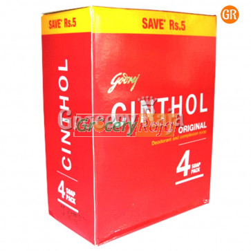 Cinthol Bathing Soap - Original 100 gms Carton (Pack of 4)