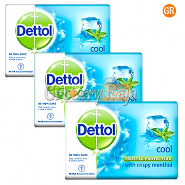Dettol Bathing Soap - Cool 125 gms Carton (Pack of 3)