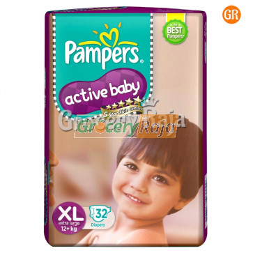 Pampers Active Baby Disposable Diaper - Extra Large (12+ Kg) 32 pcs