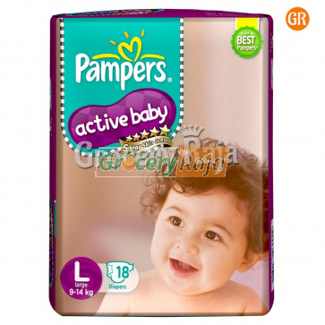 Pampers Active Baby Disposable Diaper - Large (9-14 Kg) 18 pcs