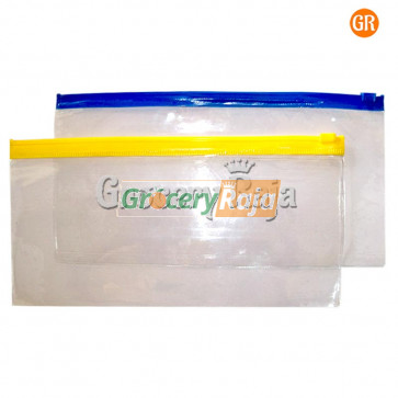 Transparent Cheque Book Cover with ZipLock (Pack of 2)