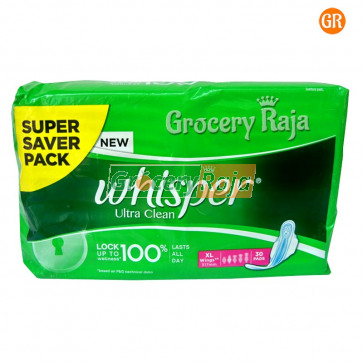 Whisper Ultra Clean XL Wings Sanitary 30 Pads