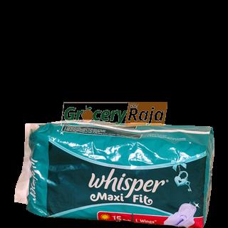 Whisper Maxi Fit L Wings 15 Pads
