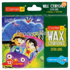 Camel Jumbo Wax Crayons 12 Shades + 1 Free Glitter