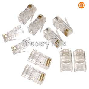 Durable 2 Pin RJ Telephone Cable LAN Connector (Pack of 10)