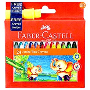 Faber-Castell Jumbo Wax Crayons - 24 Shades with Free Crayon Holder