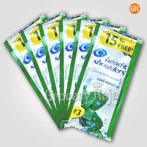 Head & Shoulders Anti Dandruff Cool Menthol Shampoo Rs. 3 Sachet + 15% Free (Pack of 6)