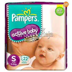 Pampers Active Baby Disposable Diaper - Small (3-8 Kg) 22 pcs