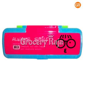 Smiley Plastic Pencil Box 1 pc [6 CARDS]