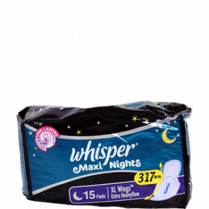 Whisper Maxi Nights XL Wings Extra Heavyflow 15 Pads