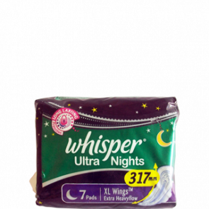 Whisper Sanitary Napkins - Extra Heavyflow XL Wings 7 Pads