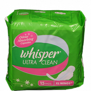 Whisper Ultra Clean XL Wings Sanitary 15 Pads